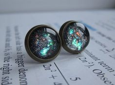 Singularity - Earring studs - science jewelry - science earrings - galaxy jewelry - physics earrings - fake plugs - plug earrings - nebula on Etsy, $11.00