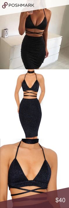 Now available, sexy two piece dress! Sexy lace up strappy bralette with a choker, a backless design and a high waist midi skirt. Gorgeously stretchy, fitted metallic knit fabric. Over knee length. Dresses Midi