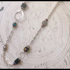 """Super long black onyx silver necklace Striking asymmetrical black onyx and Czech glass necklace on 38"""" silver plated chain. Just gorgeous. Goes with everything. Sayre Jewelry Necklaces"""