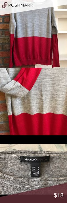 Mango colorblock sweater . Size M This colorblock sweater perfect for fall. Thin but very warm! Boat neck. Colors grey and burgundy. Size M Mango Sweaters Crew & Scoop Necks