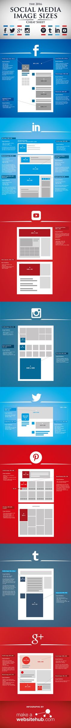 The 2016 Social Media Image Size Cheat Sheet #Infographic