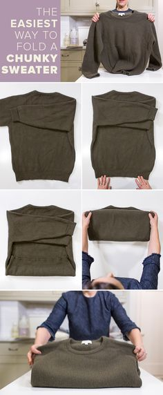 There's actually a right way to fold a chunky sweater. This easy sweater fold will also stop your sweaters from toppling over once they are all stacked in your closet.