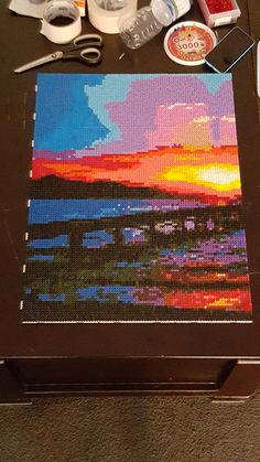 Sunset over the pier - Landscape hama beads by GoW_GamerChick_91