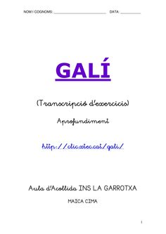 GALÍ APROFUNDIMENT by MAICA CIMA via slideshare Catalan Language, Math Equations, School, Educational Activities, Writing, Classroom
