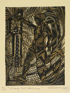 Sefulu, The Dropkick by Michel Tuffery (NZ), Embossed woodblock print on Pescia paper Modern Art, Contemporary Art, Polynesian Art, Nz Art, Maori Art, Wood Engraving, Woodblock Print, Pattern Art, Home Art