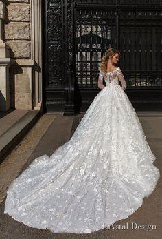 crystal design 2018 long sleeves illusion off the shoulder full embellishment romantic a line wedding dress lace back royal train (kayla) bv -- Crystal Design 2018 Wedding Dresses #weddinggowns