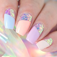 Broken Glass Nail Art with Iridescent Foil #nailart