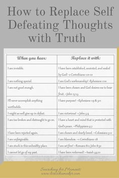 Transform your mind by changing how you think. Protect yourself from self-defeating thoughts. 10 examples of replacing negative thoughts with positive truth! Bible Scriptures, Bible Quotes, Hope Scripture, Healing Scriptures, Scripture Study, Positive Scripture, Forgiveness Scriptures, Wisdom Scripture, Irish Quotes