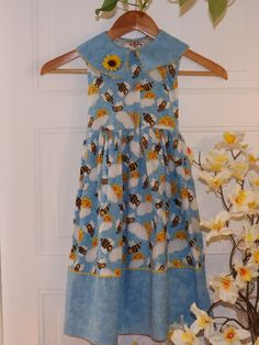 Girls, Sky Blue dress w/ sweet bumble bee designs, sz 6 #ChickenNoodle #Everyday #kids clothes Starting $7.50