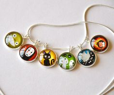 Totoro & Studio Ghibli Characters - 6 in 1 Simple Glass Pendant Necklace ~ TootsieCool on Etsy