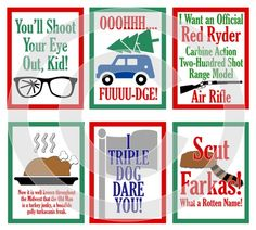 A Christmas Story Movie Digital Scrapbooking Journaling Cards - Ralphie Quote Xmas Project Life Pock