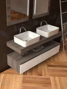 Sectional double #washbasin unit COMPONIBILE 1 by LEGNOBAGNO #bathroom
