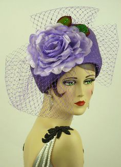 Vintage Hat by Jack McConnell, Lilac Straw w/Silk Rose and Veil sprinkled with Rhinestones | eBay