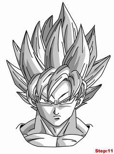 Drawing Goku Super Saiyan from Dragonball Z Tutorial Step 11