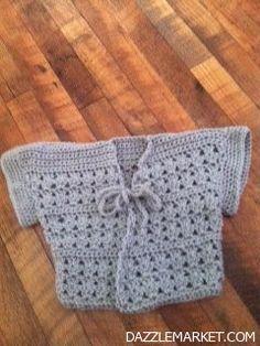 Soft grey new crocheted baby cardi http://www.dazzlemarket.com/ads/soft-grey-new-crocheted-baby-cardi/#