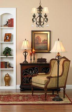 A traditional living room lighting idea.