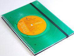 Notizbuch Green Vinyl,  Schallplatten upcycling made by VinylKunst Aurum - Schallplatten Upcycling der besonderen ART via DaWanda.com