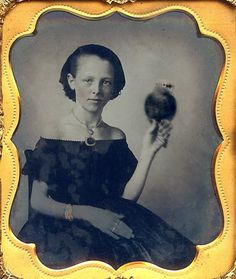 +~+~ Antique Photograph ~+~+   Unusual portrait of a young woman holding a bird.
