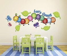 Cute Centipede Number Count Butterflies Wall Decals from our Children's Wall Stickers Collection. Ideal for nurseries, playrooms, and more. Peel and Stick! Preschool Decor, Preschool Rooms, Daycare Rooms, Home Daycare Decor, Childcare Rooms, Daycare Ideas, Playroom Ideas, Classroom Walls, Classroom Decor