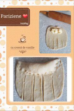 Pariziene cu cremă de vanilie. – Lorelley.blog Nutella, Cooking Recipes, Breakfast, Food, Morning Coffee, Chef Recipes, Essen, Meals, Eten