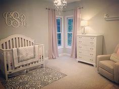 Baby girl nursery. Blush, sage, white and grey.