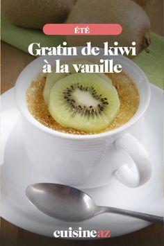 Oui, on peut cuisiner des gratins sucrés comme dans cette recette de gratin de kiwi à la vanille.  #recette#cuisine#gratin #kiwi #vanille#patisserie #ete Oui, Comme, Pudding, Desserts, Vegetable Tian, Seasonal Fruits, Cooking Food, Tailgate Desserts, Deserts