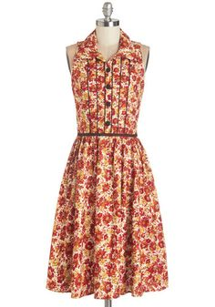 Cornucopia of Cute Dress. From your head to your toes - with this floral shirt dress in between - you are serving some seriously sweet style! #gold #prom #modcloth