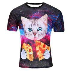 Galaxy Space T Shirt Kitten Cat Eat Pizza Funny Tops Tee Short Sleeve Summer Shirts Men 3d T Shirts, Branded T Shirts, Cool T Shirts, Printed Shirts, Casual Shirts, Harajuku, Galaxy T Shirt, Funny Prints, Cat Prints