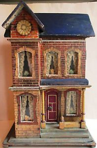 "Kleines Puppenhaus, Gottschalk ""blue roof"", top! Nice old house with good style. .....Rick Maccione-Dollhouse Builder www.dollhousemansions.com"