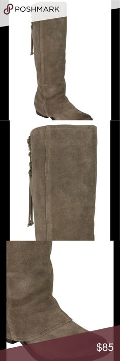 """Suede Tall Back Lace Top Almond Toe Suede Tan / Taupe Back shaft cutouts with lace-up details on tall boots. Stacked wool heel, about 2"""". Shaft, about 17"""", Leg opening, about 14 1/2"""". Suede upper, Synthetic lining, Synthetic sole, Padded insole. Imported. 090720172600130 New in box. Naughty Monkey Shoes Over the Knee Boots"""
