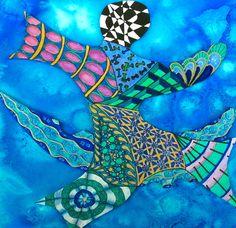 """Zentangle Els June 2014. Titel """" uit de boot gevallen """" zo voelt het nu ik besef welke gevolgen het hersenletsel heeft. En ik ben op zoek naar hoe ik mezelf nog betekenisvol kan voelen."""