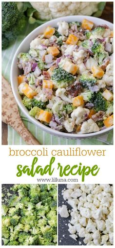 Flavorful and simple cauliflower salad with a creamy crunch! Filled with veggies, onions, bacon, sunflower seeds and cheese, this salad is sure to be a hit at any BBQ or get together. salad Broccoli Cauliflower Salad with Homemade Dressing Broccoli Cauliflower Salad, Cauliflower Recipes, Salad With Broccoli, Cauliflower Mushroom, Easy Salads, Summer Salads, Salads For Bbq, Camping Salads, Vegetarian Recipes