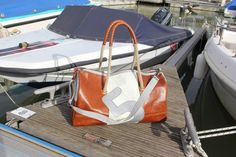 #Sail #holdall - dacron and brown leather with number 5 - Bolina Sail - #handmade #unique piece - #madeinitaly