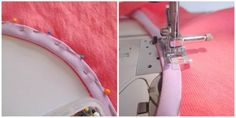 How to add a bias tape binding to a neckline or armhole to finish the raw edge. Not too difficult and gives a super-smart finish. Sewing Hacks, Sewing Tutorials, Sewing Projects, Sewing Tips, Bias Binding, Gown Pattern, Bias Tape, Learn To Sew, Couture