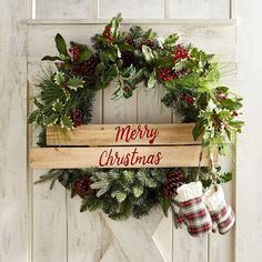 Merry Christmas mittens wreath...this is such a cute idea! I can add plaid mittens to my wreath too for the same effect! ❤️Aff