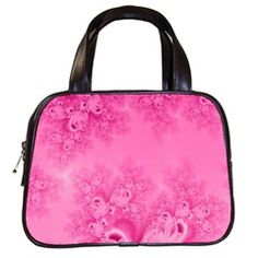 Soft Pink Frost of Morning Fractal Classic Handbag (Two Sides) from CowCow.com Front...#purses #bags #fractals #pink #RoseSantuciSofranko #Artists4God #frost #Winter #designer #cowcow