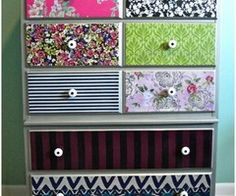 Modge Podge and Fabric for the girl's old dresser