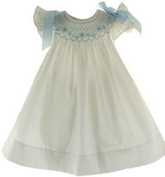 Bow Peep Infant Girls White Smocked Angel Bishop Dress with Blue Smocking & Bows