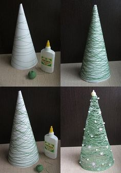 String Christmas Tree - Do in different sizes (different shades of green) for a centerpiece... Instead of decorating just frost.