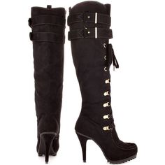 Baby Phat Women's Guest - Black (€82) ❤ liked on Polyvore featuring shoes, boots, knee-high boots, faux suede knee high boots, knee high heel boots, knee high lace up boots, black high heel boots and knee-high lace-up boots