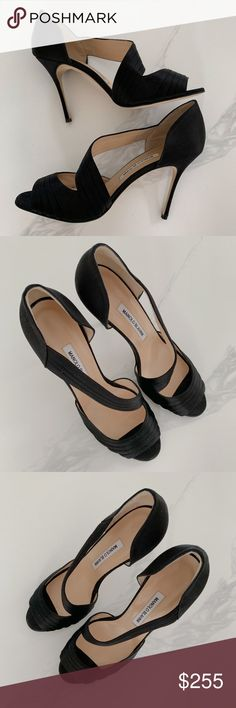 c0c6a482b909f MANOLO BLAHNIK BLACK SATIN PLEATED PUMP SIZE 10 MANOLO BLAHNIK TREUIL BLACK  SATIN PLEATED CROSSOVER PEEP