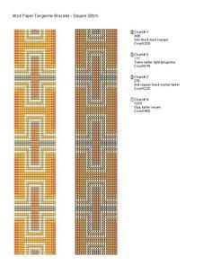 Mod Tangerine Square or Loom Stitch Bracelet - Free Beading Pattern  #heartbeadwork  #loombeading