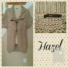 """Hazel Long Sweater Tan Medium Sweatercoat  NEW LISTING  * Hazel brand long sweater. Short sleeves. Large weave. Tan with unique, pointed buttons. 3-botton closure in front. Big collar.  * Size medium, approximately 34"""" long.  * 95% acrylic, 5% wool.  * Good condition, clean, material has some pilling. Hazel Sweaters"""