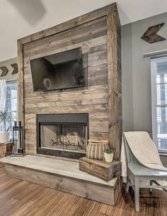 Home Fireplace, Faux Fireplace, Fireplace Design, Fireplaces, Barn House Plans, New House Plans, Dream House Plans, Living Tv, Home Living Room