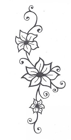 Flower With Vines Tattoo Flower Tattoos Jasmine Flower Tattoos And Flower Tattoo Designs - Tattoo Art Design ideas Jasmine Flower Tattoos, Flower Vine Tattoos, Flower Tattoo Designs, Henna Designs, Flower Designs, Tattoo Flowers, Henna Flowers, Daisies Tattoo, Vine Foot Tattoos