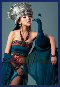 Kong Que Ling Blue Aesthetic Ethnic Fashion Classical Dance Costume Miao Silver Hat Blue Women's Costume