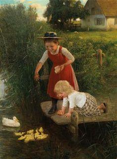 carl von bergen art | feeding the ducks art images copyright of artist or assignee