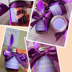 Creative to pop the question to your bridesmaids. Cupcake in a jar. I used my wedding colors (purple and coral/orange) as the inspiration for the cake and frosting color.