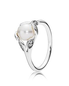 Pandora Ring - Sterling Silver, Cubic Zirconia & Cultured Freshwater Pearl Luminous Leaves