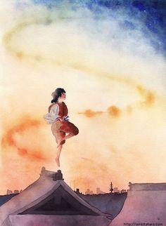 """『夜が来る』北原 千  """"Night World is Coming"""" By Sen Kitahara, 水彩, art, watercolor"""